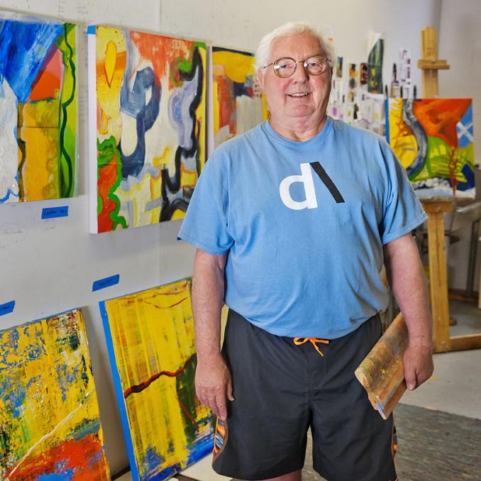 Artist Irwin E Thompson in his art studio