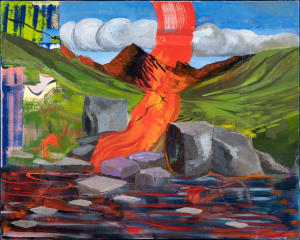 Red Cascade - Oil Acrylic Painting by Irwin Thompson